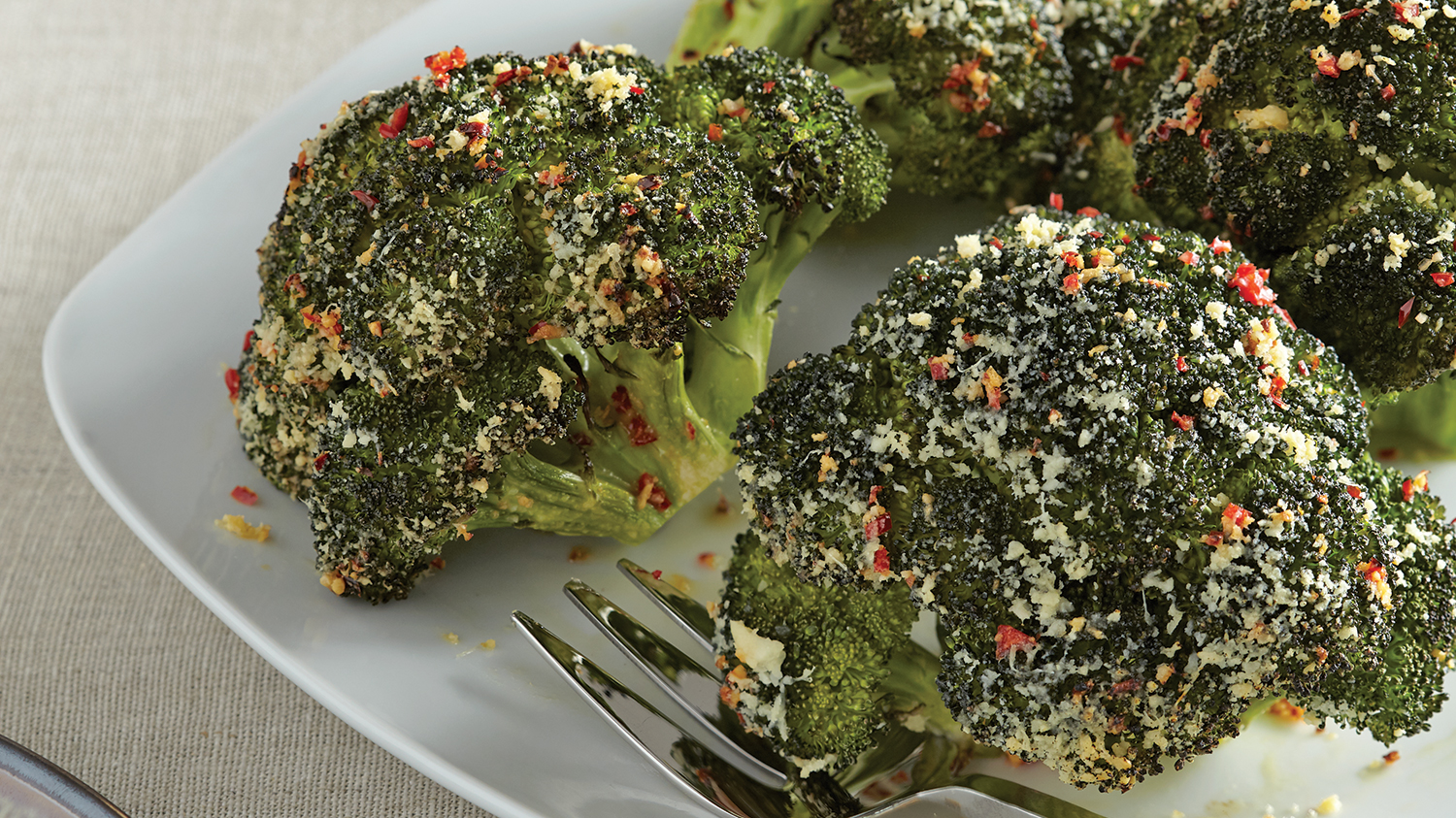 parmesan and chili roasted broccoli crowns