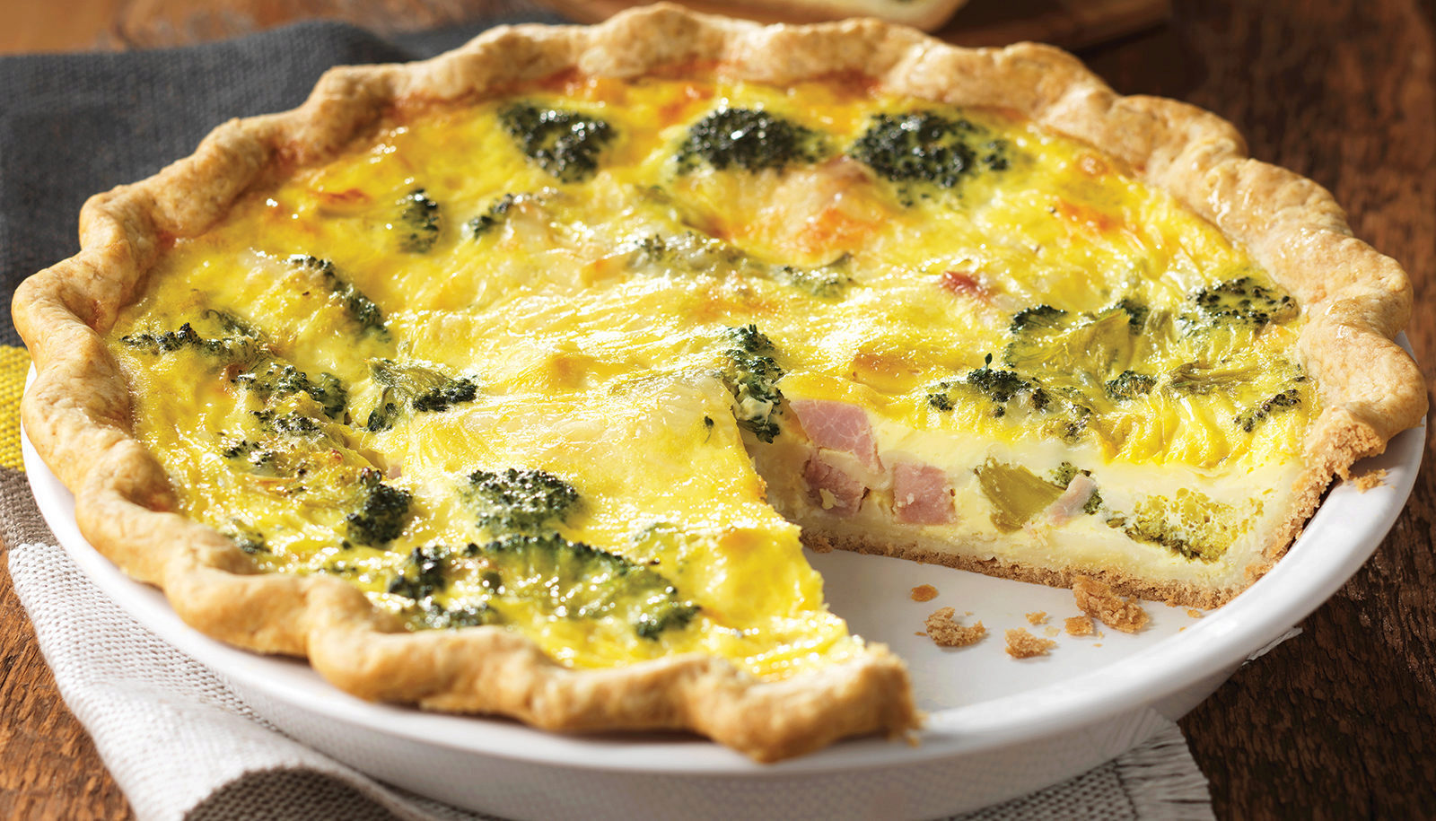 broccoli, ham and swiss cheese quiche