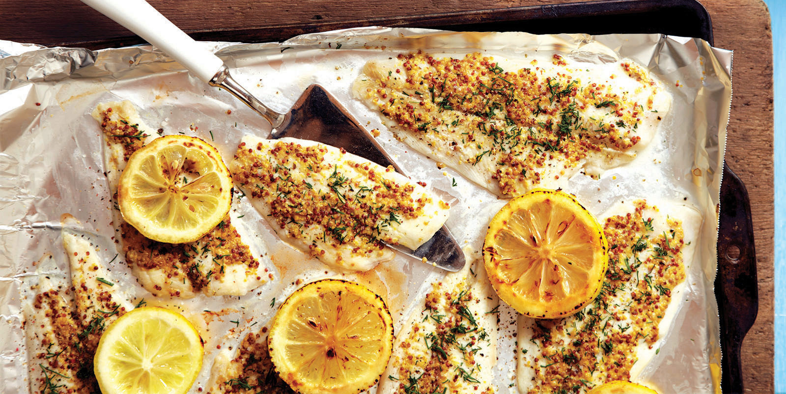 broiled dijon crusted sole with lemons