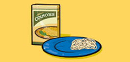 box of couscous, plate of spaghetti