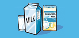 cartons, glass of milk