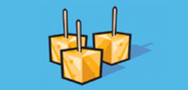 cubes of cheese on toothpicks