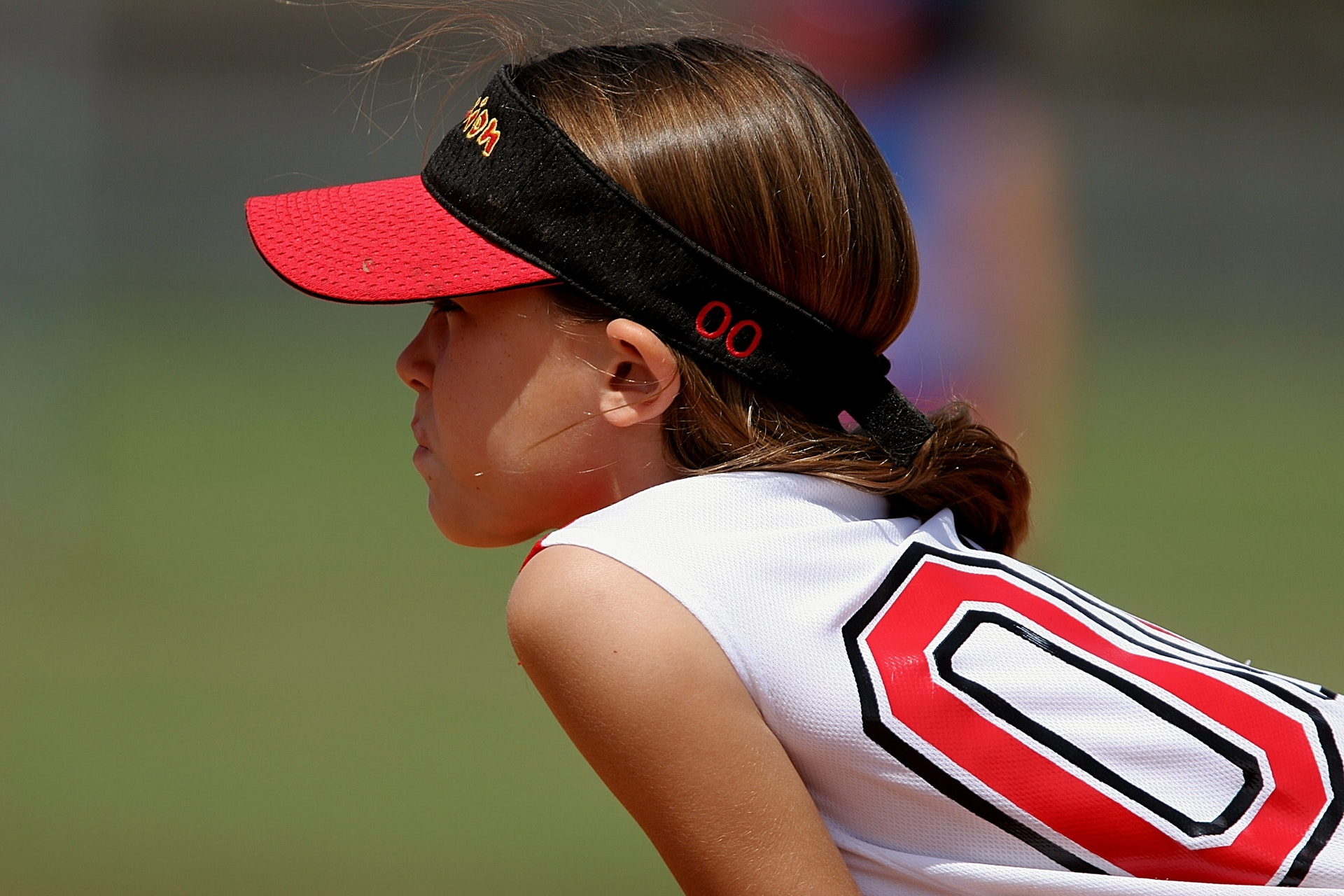 Female youth softball player
