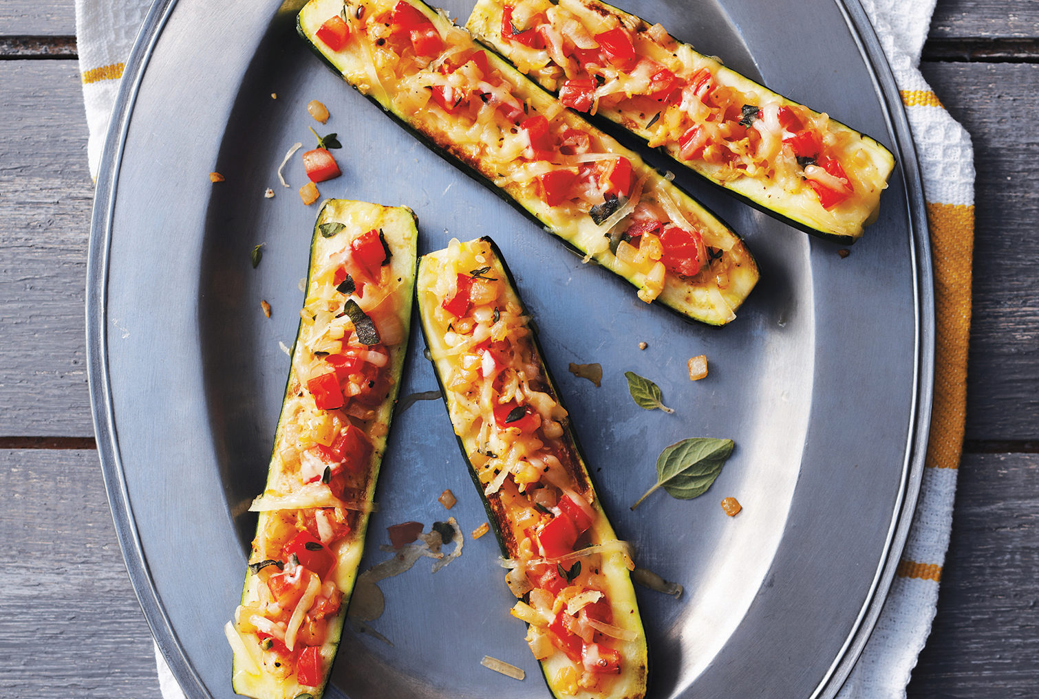 tomato cheese stuffed zucchini